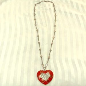 Jewelry - Red Heart White Crystal Stud Silver Tone Necklace.